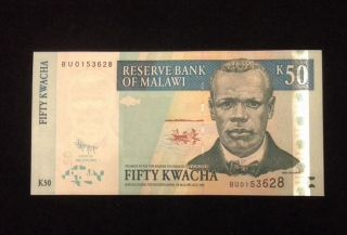 Malawi Unc 50 Kwacha 2011 Banknote World Currency Paper Money photo