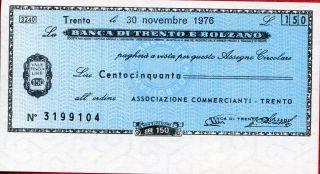 Banca Di Trento E Bolzano 150 Lire 1976 Unc photo