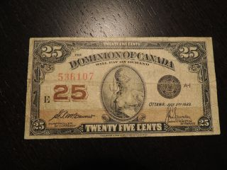 1923 Dominion Of Canada Shinplaster 0.  25 Cents Paper Mccavour Saunders 536107 photo