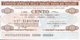 Istituto Centrale Delle Banche Popolari Italiane 100 Lire 1977 Unc photo