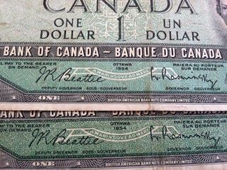 1954 Canada Ottawa $1.  00 Bank Notes (3) & 1973 Canada $1.  00 (1) Good - Vg Condit photo