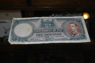 Fiji 5 Shillings 1941 George Vi Banknote photo