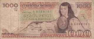 Mexico: 1000 Pesos,  P - 80b,  7 - 8 - 1984,  Juana De Asbaje photo