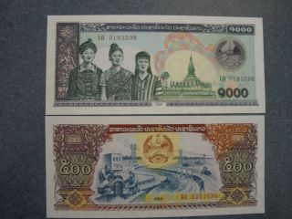 2 Notes,  Lao 500 & 1000 Kips Unc. photo