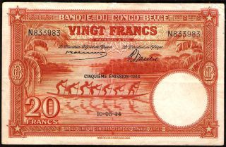 Bucksless 1105: Rare Belgian Congo 20 Francs 1944,  P - 15d,  Congo Belgium photo