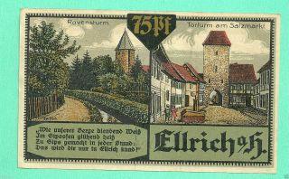 Germany Ellrich 75 Pfg.  1921 Notgeld Unc Gem 022306 photo
