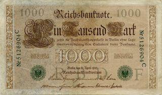 Germany 1000 Mark 1910 Nr5126904c photo