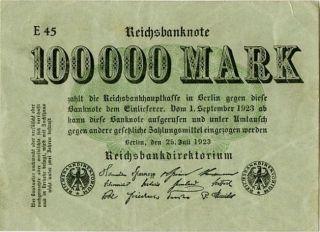 Germany 100.  000 Mark 1923 E45 0000237 photo