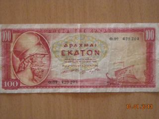 Greece 100 Drachmai 1955 photo