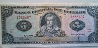 Ecuador P113d,  5 Sucres,  Antonio José De Sucre Unc photo