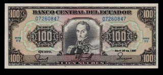 Ecuador 100 Sucres 1990 Vv Pick 123 Xf+. photo