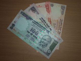 India 100,  50,  20,  10 Rupees Unc photo
