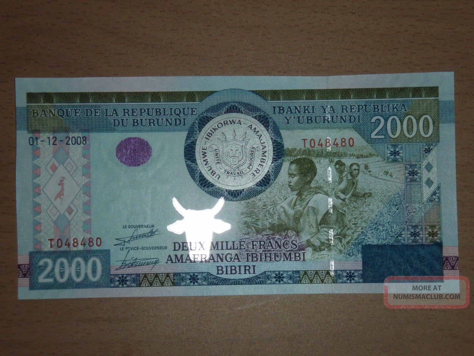 Burundi 2000 Francs 2008 Unc Africa photo