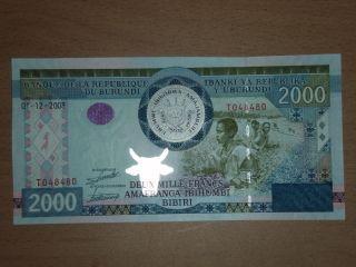 Burundi 2000 Francs 2008 Unc photo