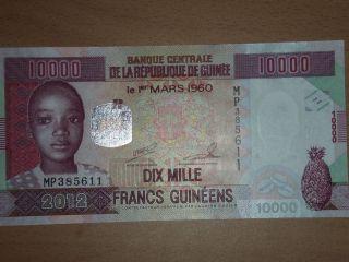 Guinea 10000 Francs 2012 Unc photo