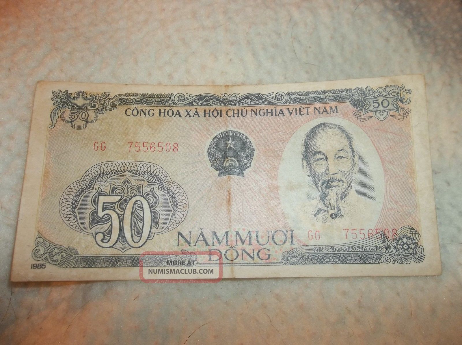 Vintage 1985 Banknote Cong Hoa X A Hoi Chu Nghia Viet Nam 50 Nam Muoi Dong Asia photo