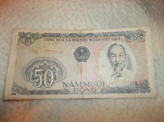 Vintage 1985 Banknote Cong Hoa X A Hoi Chu Nghia Viet Nam 50 Nam Muoi Dong photo
