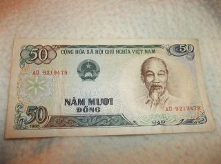 Vintage Banknote Cong Hoa X A Hoi Chu Nghia Viet Nam 50 Nam Muoi Dong 1985 photo