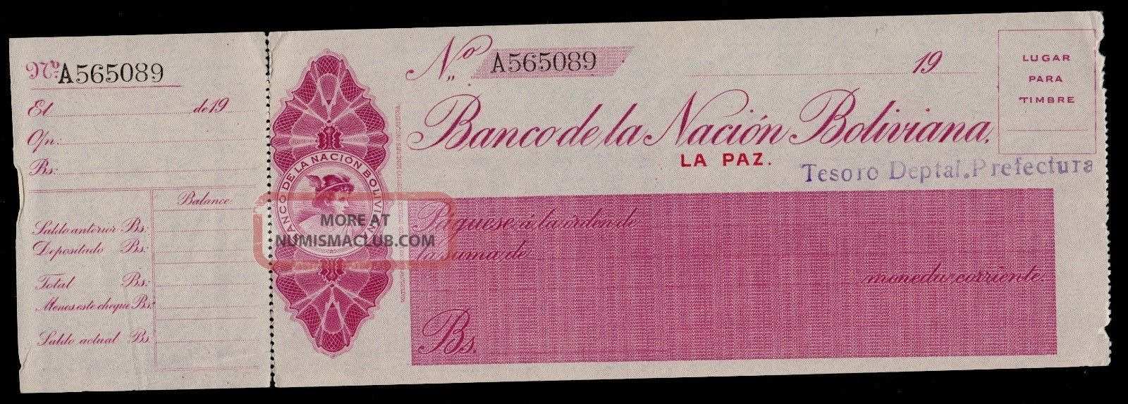 Bolivia Cheque Banco De La Nacion Boliviana T.  Deptal.  19xx Pick Nl Au. Paper Money: World photo