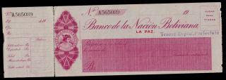 Bolivia Cheque Banco De La Nacion Boliviana T.  Deptal.  19xx Pick Nl Au. photo