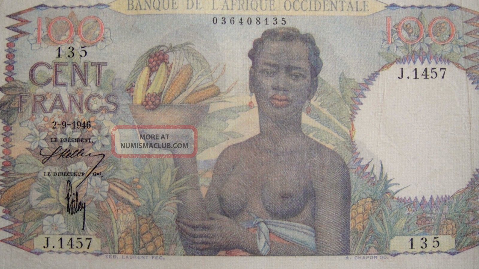 French West Africa 1946 100 Francs Banknote Rare /// J.  1457 Africa photo