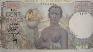 French West Africa 1946 100 Francs Banknote Rare /// J.  1457 photo