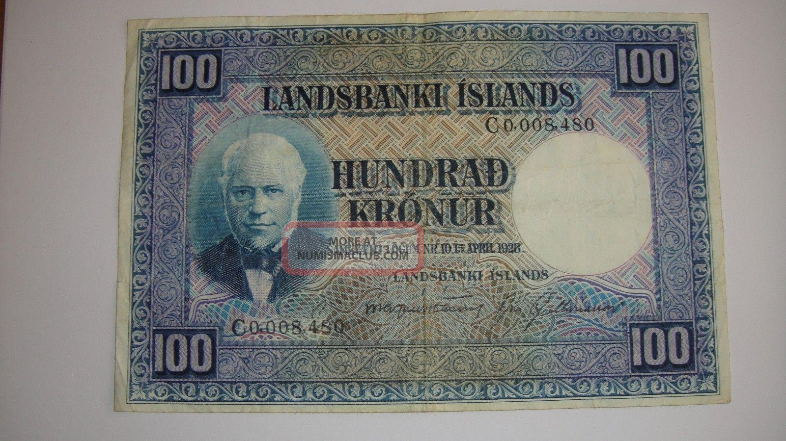 Iceland 100 Kronur 1928 Serial 8,  480 Europe photo