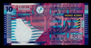 Hong Kong 10 Dollars 2002 Pick 400a Unc photo
