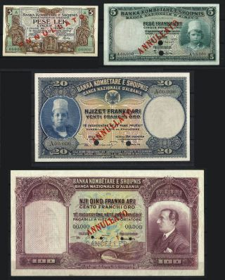 Albania 1926 Banknote 1 - 5 - 20 - 100 Franka Ari - Uncirculate​d Unc - Very Rare photo