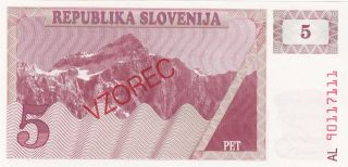 Slovenia: 5 Tolarev,  (19) 90.  P - 3s1 (vzorec).  Uncirculated.  Republika Slovejina photo