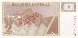 Slovenia: 2 Tolarev,  (19) 90.  P - 2s1 (vzorec).  Uncirculated.  Republika Slovejina photo