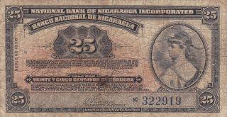 Nicaragua: 25 Centavos,  1938,  P - 88a,  Printer: Abnc photo