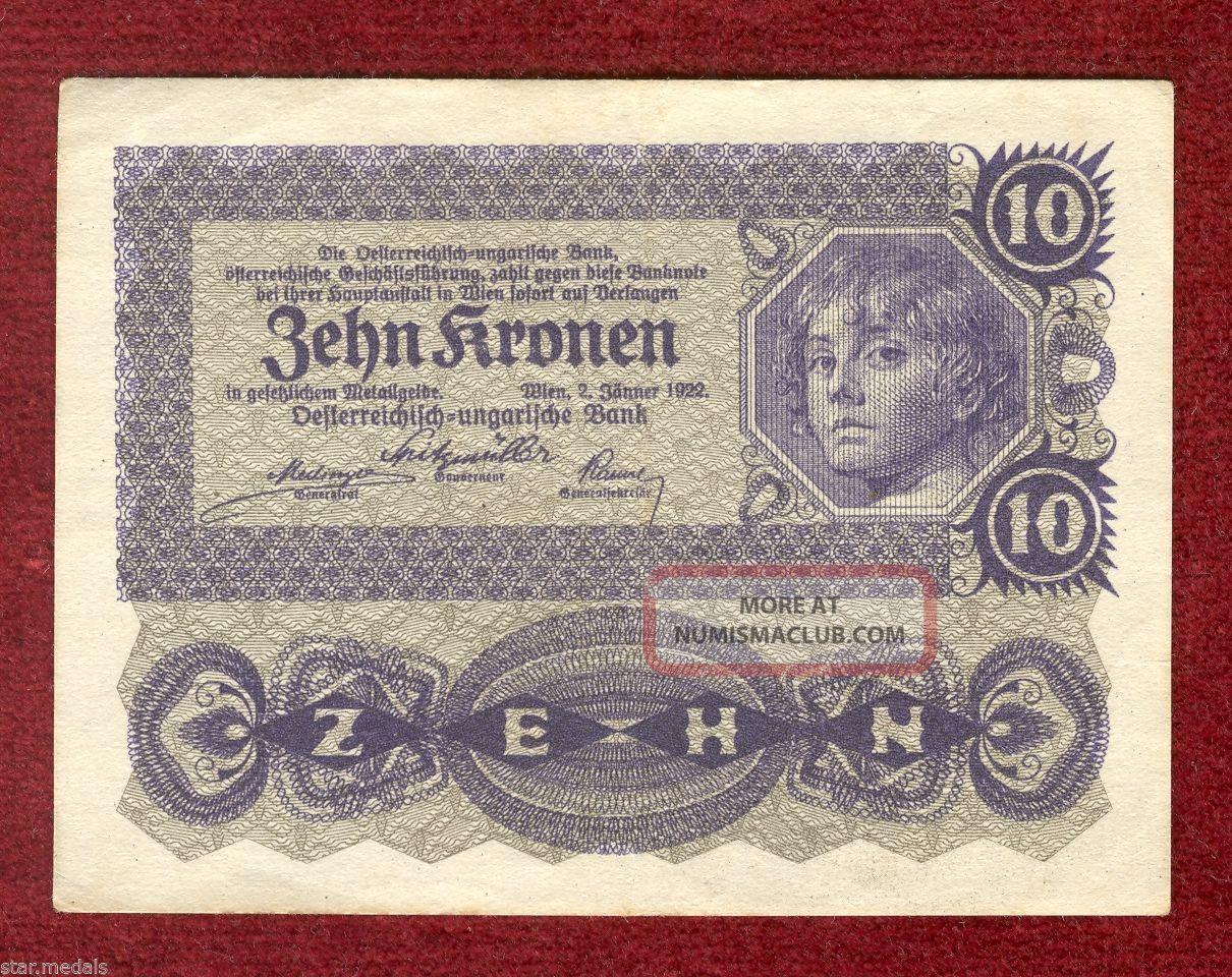 Austria Imperial Bank Note Of 10 Crown Kronen 1922,  Serie 1014 Europe photo