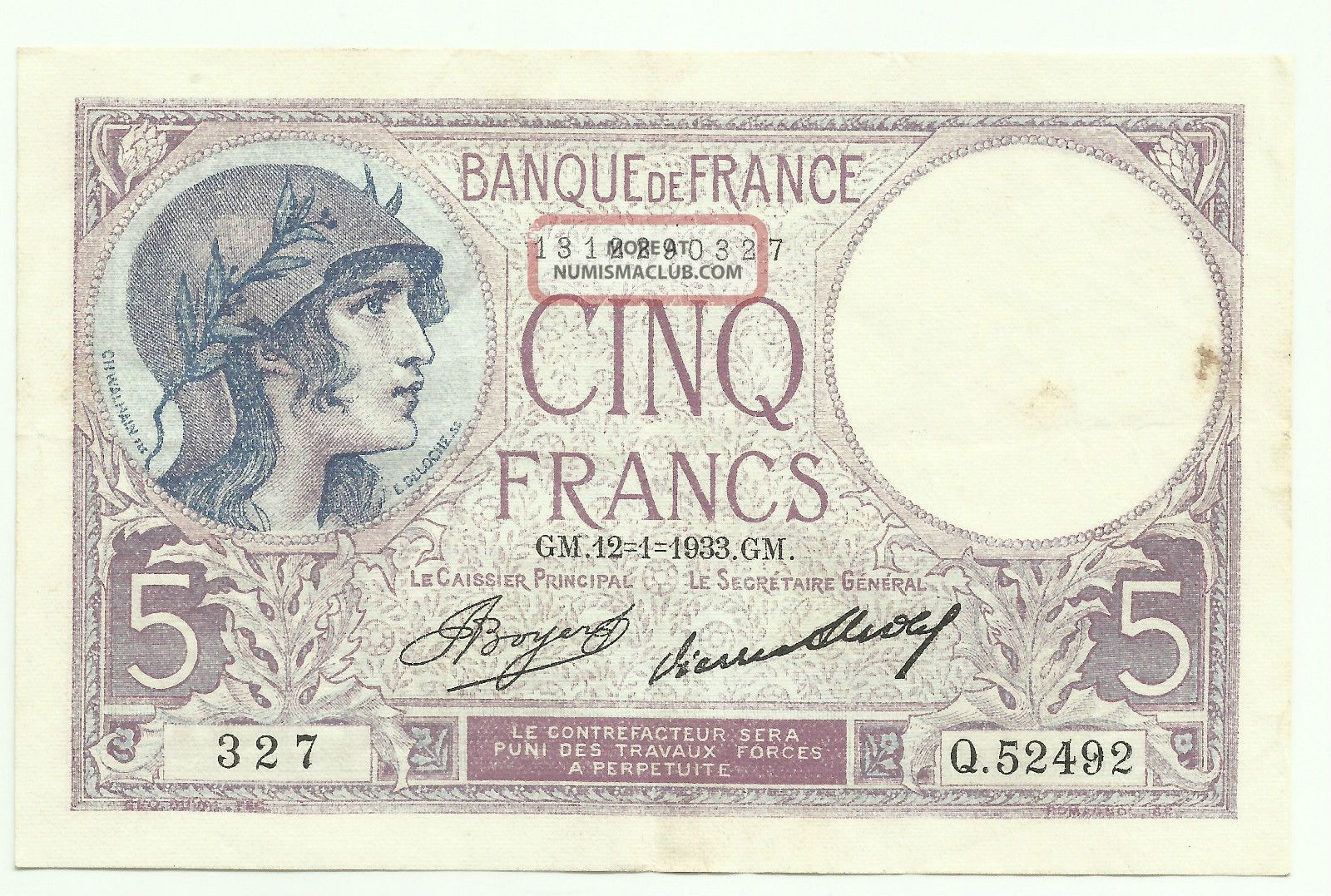 France 5 Francs 12/1/1933 P - 72e Vf++ Europe photo