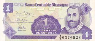 Nicaragua: One Centavo,  Nd (1991),  P - 167,  Printer: Harrison,  Crisp Unc photo