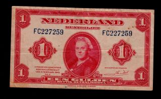 Netherlands 1 Gulden 1943 Fc Pick 64 Vf. photo