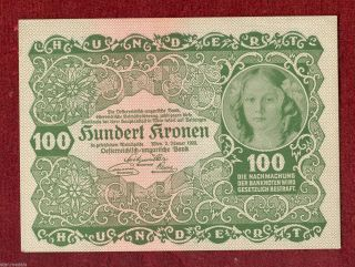 Austria Imperial Bank Note Of 100 Crown Kronen 1922,  Serie 1193 photo