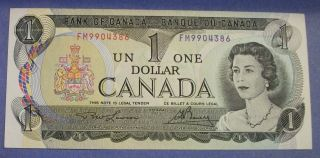 1973 Canada One Dollar Bill,  Lawson - Bouey Signed Unc. photo