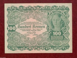 Austria Imperial Bank Note Of 100 Crown Kronen 1922,  Serie 1027 photo