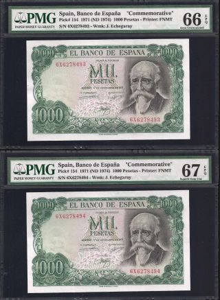 Spain 2 X 1000 Pesetas 1971 Correlatives - Pmg 66 - 67 photo