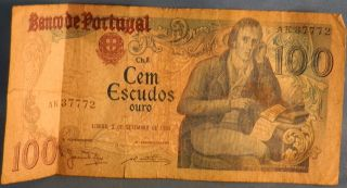 Portugal 100 One Hundred Escudos Bank Note,  Circulated,  1980, photo