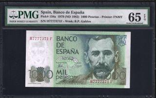 Spain 1000 Pesetas 1979 - Pmg 65 Unc photo