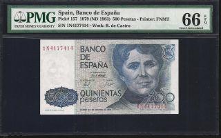 Spain 500 Pesetas 1979 - Pmg 66 Unc photo