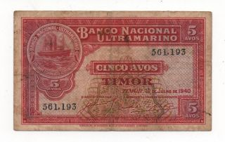 Portugal Portuguese Timor 5 Avos 1940 Pick 12 Look Scans photo