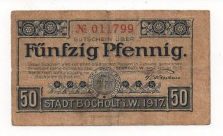 Germany Bocholt 50 Pfennig 1917 Notgeld Emergency Money Look Scans photo