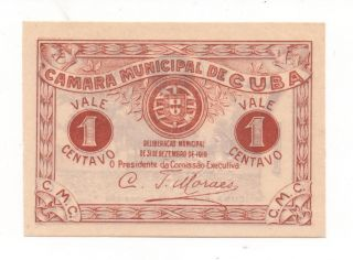 Portugal Notgeld Emergency Money C. .  A 1 Centavos 1919 Look Scans photo
