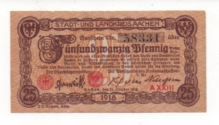 Germany Aachen 25 Pfennig 1918 Notgeld Emergency Money Look Scans photo