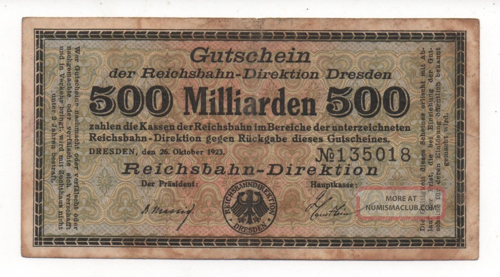 Germany Dresden 500 Milliarden 1923 Notgeld Emergency Money Look Scans Europe photo