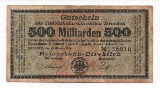 Germany Dresden 500 Milliarden 1923 Notgeld Emergency Money Look Scans photo