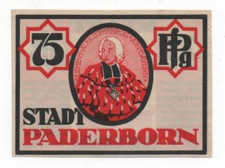Germany Paderborn 75 Pfennige 1921 Notgeld Emergency Money Unc Look Scans photo